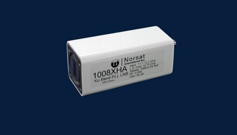 LNB, Ku-band, 12.25-12.75 GHz, External Reference, Noise Figure 08 - 0.8 dB, N connector - 50 Ohms.